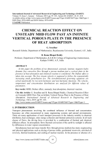 CHEMICAL REACTION EFFECT ON UNSTEADY MHD FLOW PAST AN INFINITE VERTICAL POROUS PLATE IN THE PRESENCE OF HEAT ABSORPTION