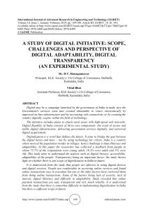 A STUDY OF DIGITAL INITIATIVE: SCOPE, CHALLENGES AND PERSPECTIVE OF DIGITAL ADAPTABILITY, DIGITAL TRANSPARENCY (AN EXPERIMENTAL STUDY)