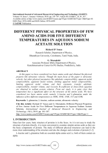 DIFFERENT PHYSICAL PROPERTIES OF FEW AMINO ACIDS FOR FIVE DIFFERENT TEMPERATURES IN AQUEOUS SODIUM ACETATE SOLUTION