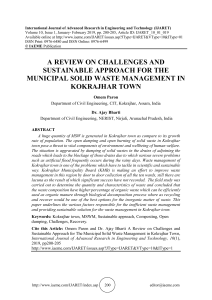A REVIEW ON CHALLENGES AND SUSTAINABLE APPROACH FOR THE MUNICIPAL SOLID WASTE MANAGEMENT IN KOKRAJHAR TOWN