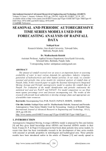 SEASONAL AND PERIODIC AUTOREGRESSIVE TIME SERIES MODELS USED FOR FORECASTING ANALYSIS OF RAINFALL DATA