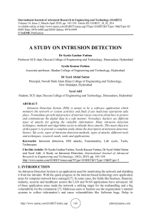 A STUDY ON INTRUSION DETECTION