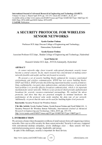 A SECURITY PROTOCOL FOR WIRELESS SENSOR NETWORKS