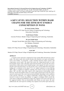 A KEY LEVEL SELECTION WITHIN HASH CHAINS FOR THE EFFICIENT ENERGY CONSUMPTION IN WSNS