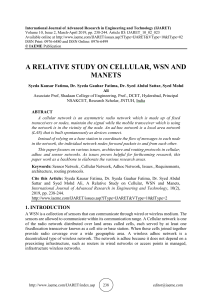 A RELATIVE STUDY ON CELLULAR, WSN AND MANETS