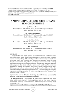 A MONITORING SCHEME WITH IOT AND SENSOR EXPERTISE