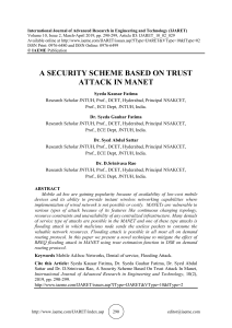 A SECURITY SCHEME BASED ON TRUST ATTACK IN MANET