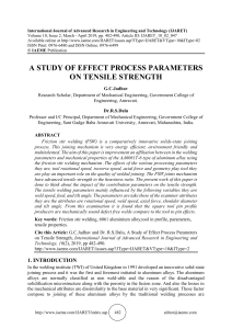 A STUDY OF EFFECT PROCESS PARAMETERS ON TENSILE STRENGTH