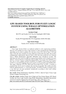GPU BASED TOOLBOX FOR FUZZY LOGIC SYSTEM USING WHALE OPTIMIZATION ALGORITHM