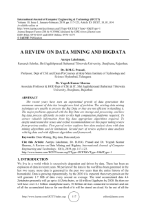 A REVIEW ON DATA MINING AND BIGDATA