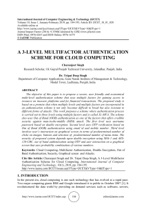 A 3-LEVEL MULTIFACTOR AUTHENTICATION SCHEME FOR CLOUD COMPUTING