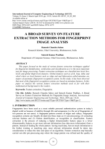 A BROAD SURVEY ON FEATURE EXTRACTION METHODS FOR FINGERPRINT IMAGE ANALYSIS