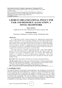 A ROBUST ORGANIZATIONAL POLICY FOR TASK AND RESOURCE ALLOCATION: A NOVEL FRAMEWORK