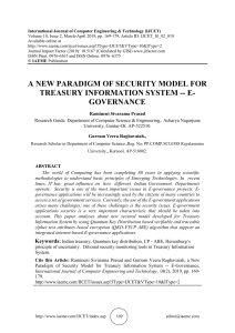 A NEW PARADIGM OF SECURITY MODEL FOR TREASURY INFORMATION SYSTEM -- E-GOVERNANCE