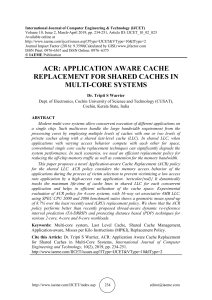 ACR: APPLICATION AWARE CACHE REPLACEMENT FOR SHARED CACHES IN MULTI-CORE SYSTEMS