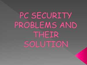 PC SECURITY ISSUE AND THEIR SOLUTION