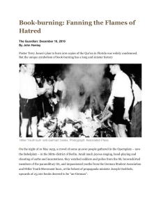 Book-burning  fanning the flames of hatred