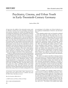 Psychiatry, Cinema and Urban Youth in Early Twentieth-Century Germany