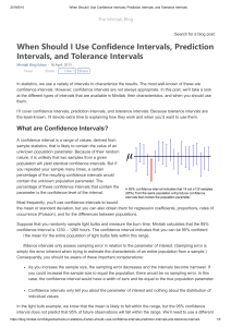 When Should I Use Confidence Intervals, Prediction Intervals, and Tolerance Intervals