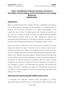 Strategies to Prevent Novice Teachers' Burnout and Its Coping Measures in Secondary School Setting