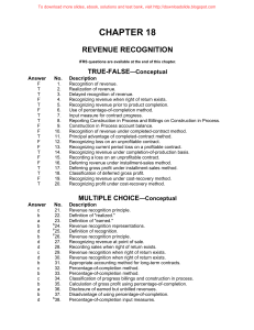 CHAPTER 18 REVENUE RECOGNITION