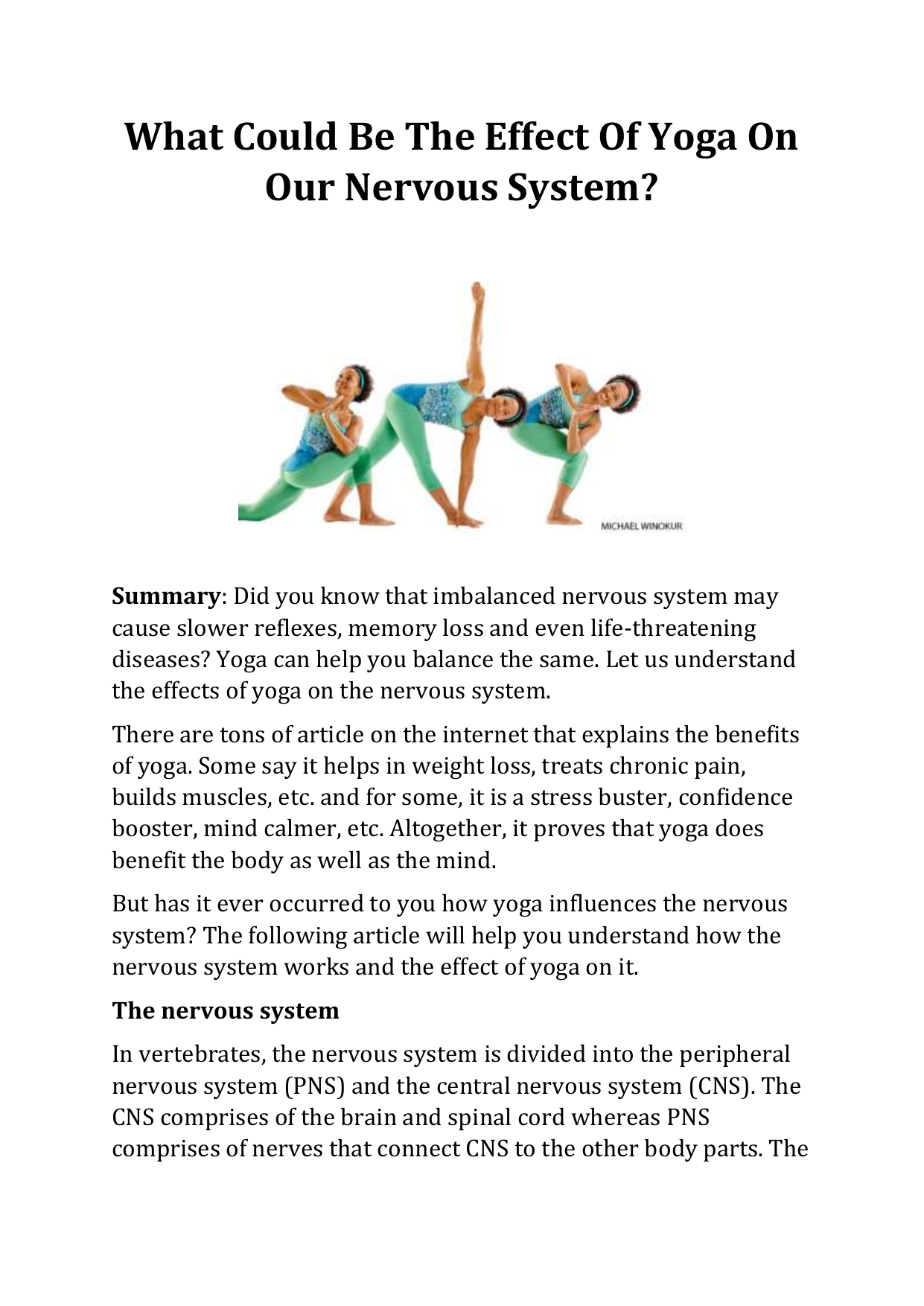 What Could Be The Effect Of Yoga On Our Nervous System
