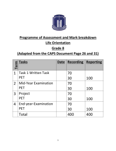 Assessment plan lo grade 8