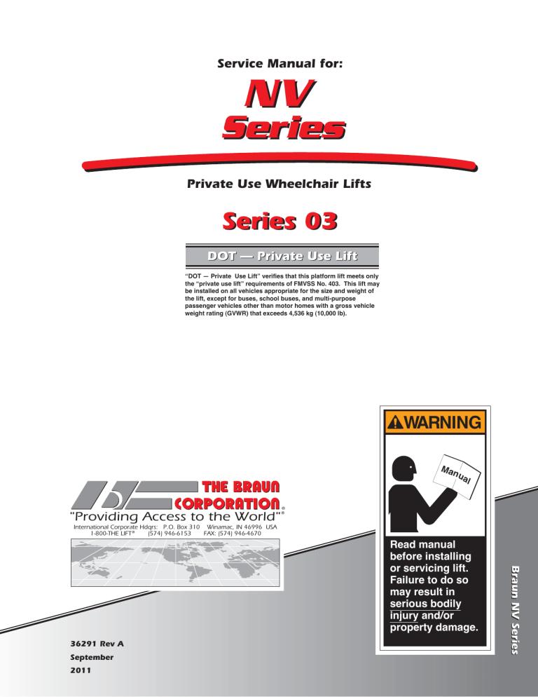 Series Nv05 03 Braun Wheelchair Lift Manual, Braun Wheelchair Lift Wiring Diagram