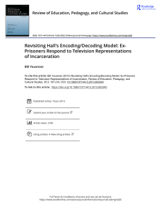 Revisiting Hall s Encoding Decoding Model Ex Prisoners Respond to Television Representations of Incarceration