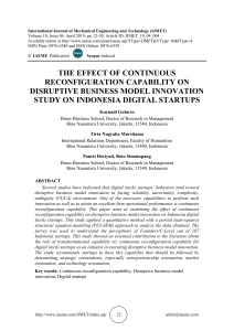 THE EFFECT OF CONTINUOUS RECONFIGURATION CAPABILITY ON DISRUPTIVE BUSINESS MODEL INNOVATION STUDY ON INDONESIA DIGITAL STARTUPS