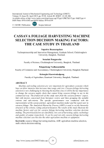 CASSAVA FOLIAGE HARVESTING MACHINE SELECTION DECISION MAKING FACTORS: THE CASE STUDY IN THAILAND