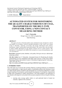 AUTOMATED SYSTEM FOR MONITORING THE QUALITY CHARACTERISTICS OF COAL, TRANSPORTED ON THE BELT-TYPE CONVEYOR, USING A NON-CONTACT MEASURING METHOD