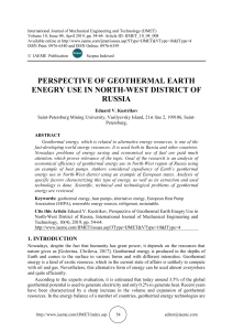 PERSPECTIVE OF GEOTHERMAL EARTH ENEGRY USE IN NORTH-WEST DISTRICT OF RUSSIA