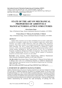 STATE OF THE ART ON MECHANICAL PROPERTIES OF ADDITIVELY MANUFACTURED LATTICE STRUCTURES