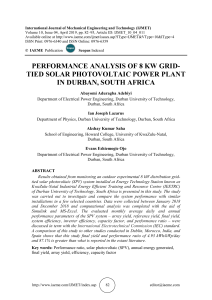 PERFORMANCE ANALYSIS OF 8 KW GRID-TIED SOLAR PHOTOVOLTAIC POWER PLANT IN DURBAN, SOUTH AFRICA