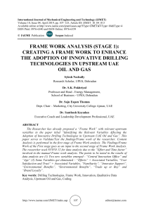 FRAME WORK ANALYSIS (STAGE 1): CREATING A FRAME WORK TO ENHANCE THE ADOPTION OF INNOVATIVE DRILLING TECHNOLOGIES IN UPSTREAM UAE OIL AND GAS