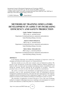 METHODS OF TRAINING SIMULATORS DEVELOPMENT IN ASPECT OF INCREASING EFFICIENCY AND SAFETY PRODUCTION