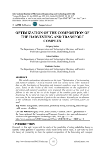 OPTIMIZATION OF THE COMPOSITION OF THE HARVESTING AND TRANSPORT COMPLE