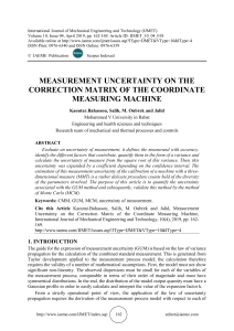 MEASUREMENT UNCERTAINTY ON THE CORRECTION MATRIX OF THE COORDINATE MEASURING MACHINE