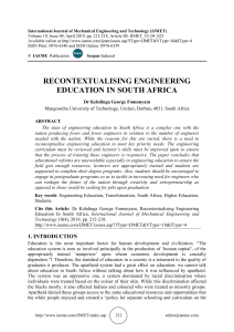 RECONTEXTUALISING ENGINEERING EDUCATION IN SOUTH AFRICA
