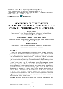 DISCRETION OF STREET-LEVEL BUREAUCRATS IN PUBLIC SERVICES: A CASE STUDY ON PUBLIC HEALTH IN MAKASSAR