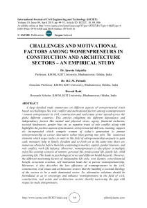 CHALLENGES AND MOTIVATIONAL FACTORS AMONG WOMENPRENEURS IN CONSTRUCTION AND ARCHITECTURE SECTORS – AN EMPIRICAL STUDY