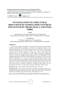 INVESTIGATION ON STRUCTURAL BEHAVIOUR OF GEOPOLYMER CONCRETE INFLUENCED BY MICRO SILICA AND STEEL FIBRE