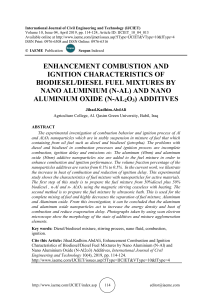ENHANCEMENT COMBUSTION AND IGNITION CHARACTERISTICS OF BIODIESEL/DIESEL FUEL MIXTURES BY NANO ALUMINIUM (N-AL) AND NANO ALUMINIUM OXIDE (N-AL2O3) ADDITIVES