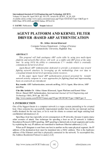 AGENT PLATFORM AND KERNEL FILTER DRIVER -BASED ARP AUTHENTICATION