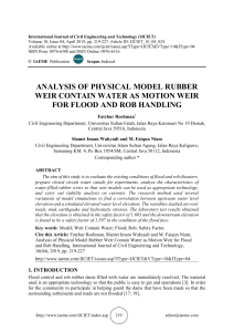ANALYSIS OF PHYSICAL MODEL RUBBER WEIR CONTAIN WATER AS MOTION WEIR FOR FLOOD AND ROB HANDLING