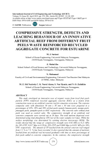 COMPRESSIVE STRENGTH, DEFECTS AND LEACHING BEHAVIOUR OF AN INNOVATIVE ARTIFICIAL REEF FROM DIFFERENT FRUIT PEELS WASTE REINFORCED RECYCLED AGGREGATE CONCRETE FOR ESTUARINE