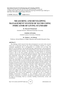 MEASURING AND DEVELOPING MANAGEMENT SYSTEM OF SLUMS USING INDICATOR OF LIVING STANDARD