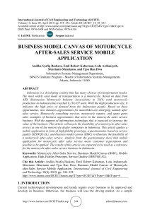 BUSINESS MODEL CANVAS OF MOTORCYCLE AFTER-SALES SERVICE MOBILE APPLICATION