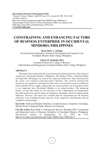 CONSTRAINING AND ENHANCING FACTORS OF BUSINESS ENTERPRISE IN OCCIDENTAL MINDORO, PHILIPPINES